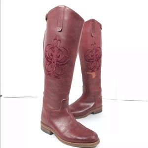 FRYE Riding Embroidered Leather Boots 77635